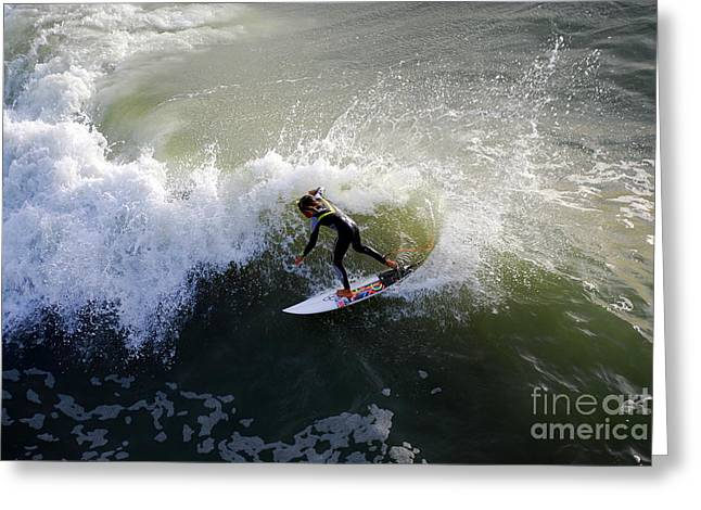 Surfer Boy Riding A Wave Greeting Card by Catherine Sherman