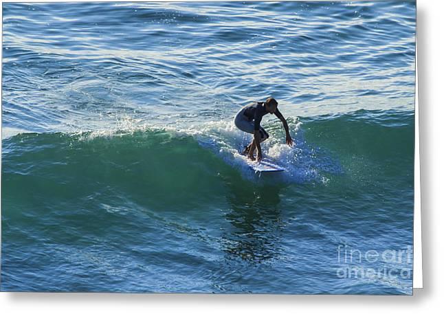Surfer Chapel Porth Cornwall Greeting Card