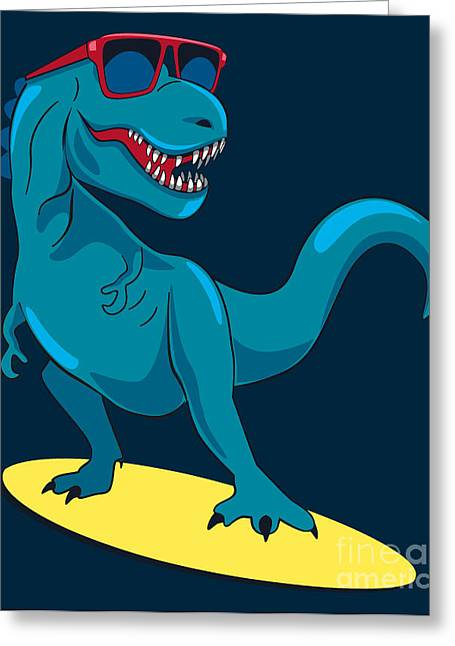 Surfer, Dinosaur, Monster Vector Design Greeting Card