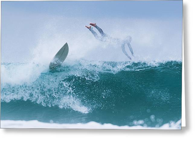 Surfer Diving Into Water Greeting Card