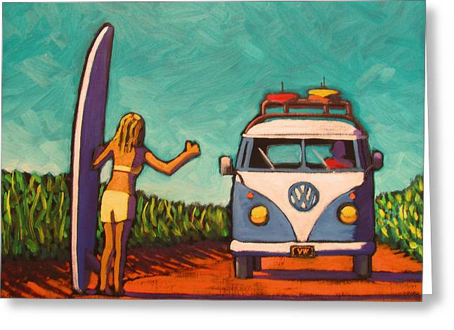 Surfer Girl And Vw Bus Greeting Card