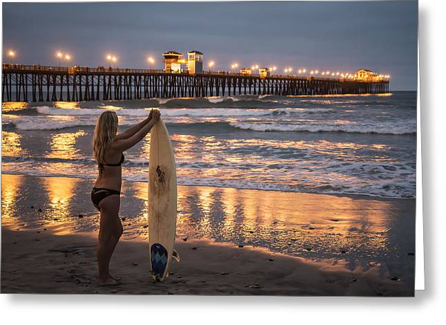 Surfer Girl At Oceanside Pier 1 Greeting Card