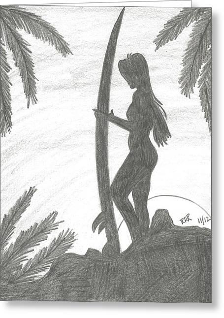 Surfer Girl Greeting Card by Ray Ratzlaff
