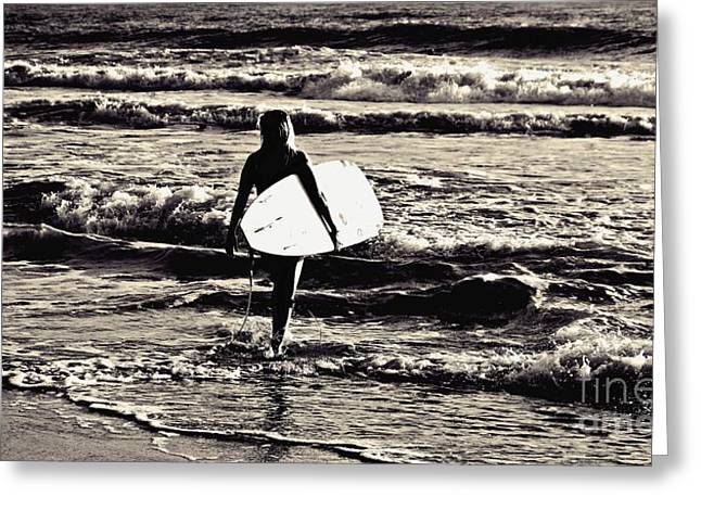 Surfer Girl Greeting Card by Scott Allison