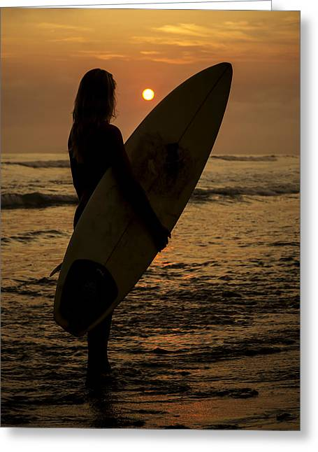 Surfer Girl Sunset Silhouette Greeting Card