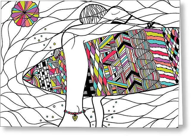 Surfer Girl Greeting Card by Susan Claire