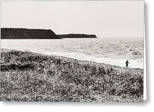 Surfer In A Hurry Greeting Card by Arkady Kunysz