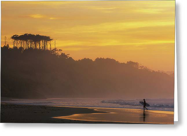 Surfer In Golden Hour, In Cantabria Greeting Card
