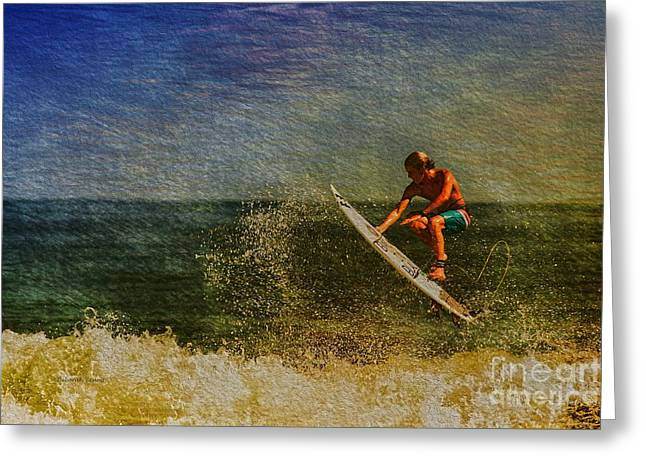 Surfer In Oil Greeting Card by Deborah Benoit