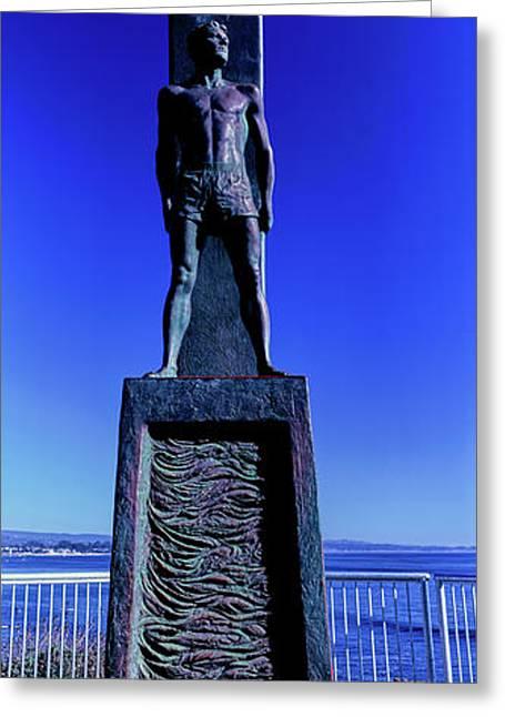Surfer Monument At Coast, Santa Cruz Greeting Card