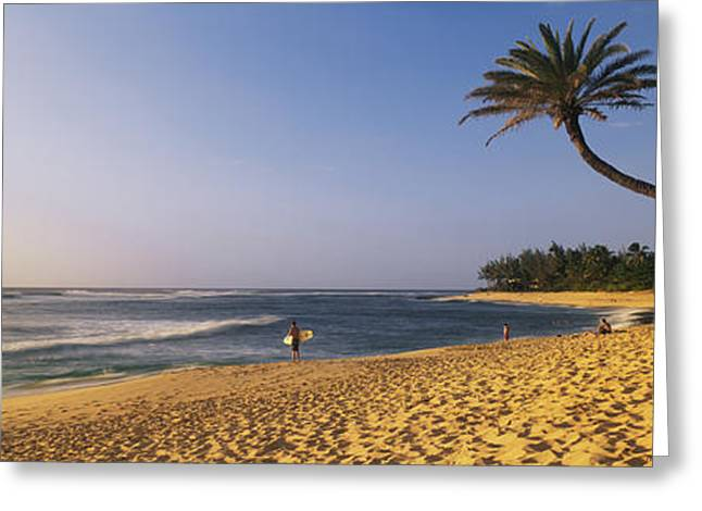 Surfer On Beach Hi Greeting Card by Panoramic Images