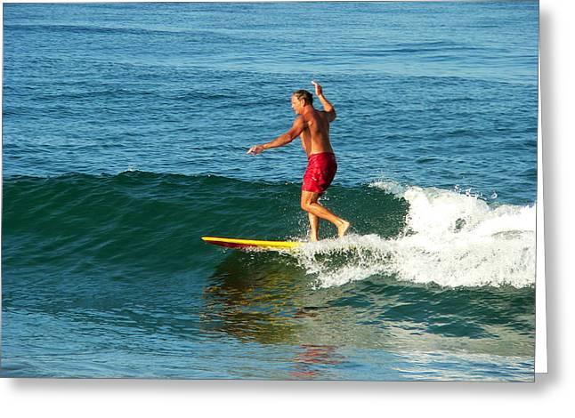 Surfer Posing On Board Greeting Card by Jeff Lowe