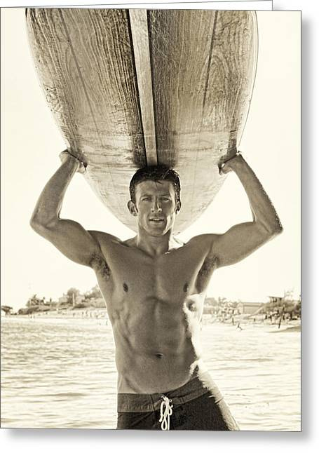 Surfer Greeting Card by Ray John Pila