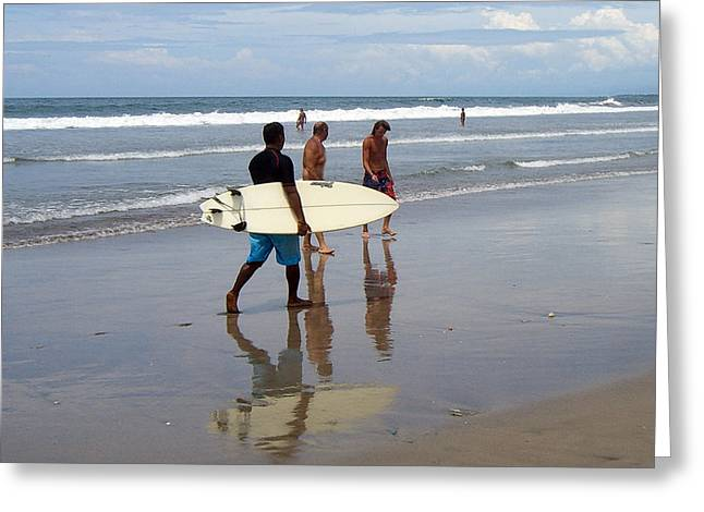 Surfer Reflection Greeting Card by Jack Adams
