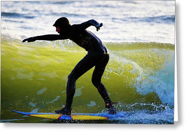 Surfer Riding A Wave Greeting Card by Linda Wright