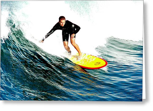 Surfer Riding Wave Greeting Card by Jeff Lowe