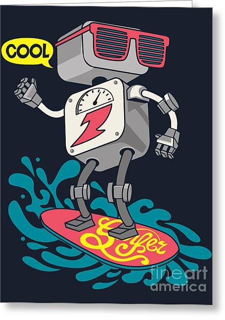 Surfer Robot Vector Design For Tee Greeting Card