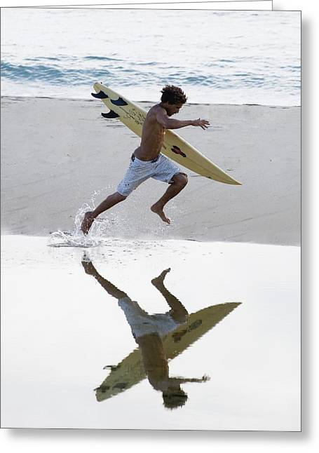 Surfer Running With Surfboard Greeting Card by Ben Welsh