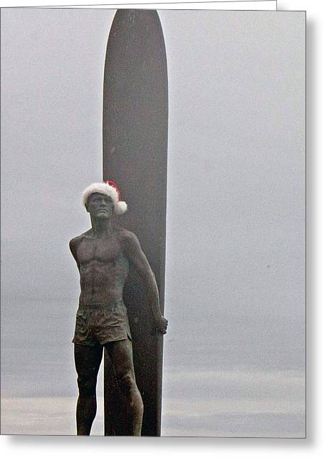 Greeting Card featuring the photograph Surfer Santa  by Lora Lee Chapman