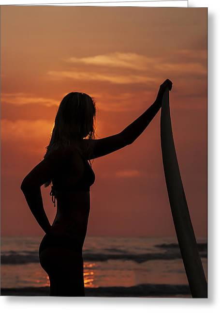 Surfer Sunset Silhouette Greeting Card