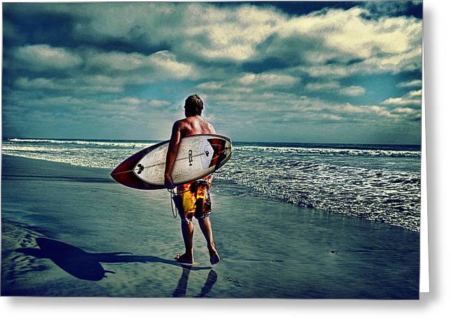 Surfer Walking The Beach Greeting Card