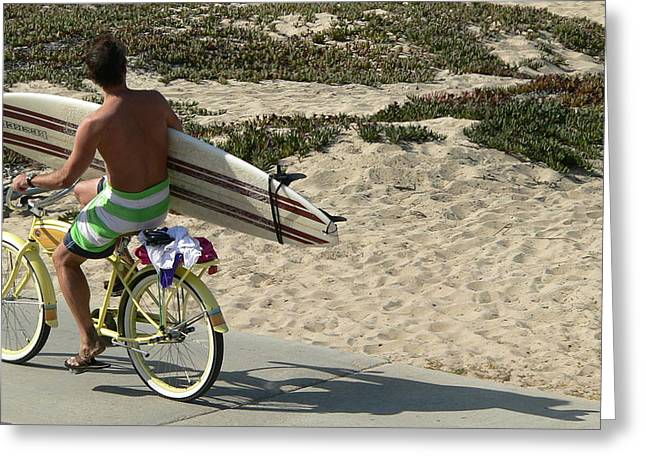 Surfer With Board On Bike Greeting Card by Jeff Lowe