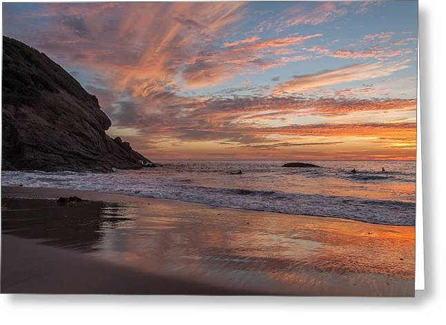 Surfers And Sunset At Strands Beach Dana Point Greeting Card