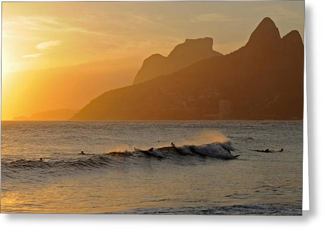 Surfers At Sunset On Ipanema Beach, Rio Greeting Card
