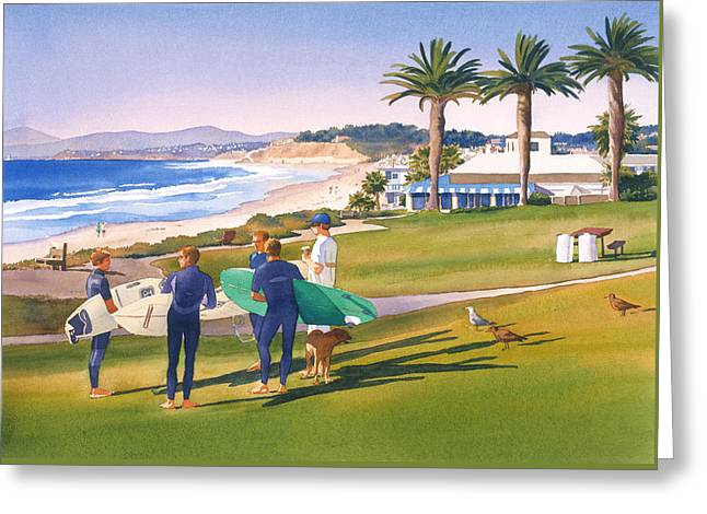 Surfers Gathering At Del Mar Beach Greeting Card