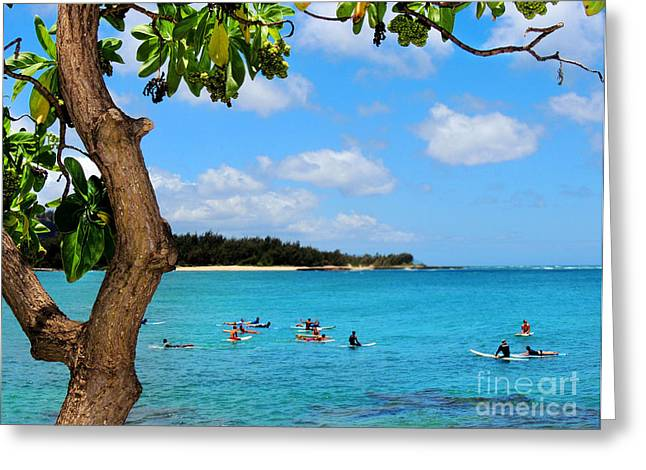 Surfers In Paradise Greeting Card by Kristine Merc