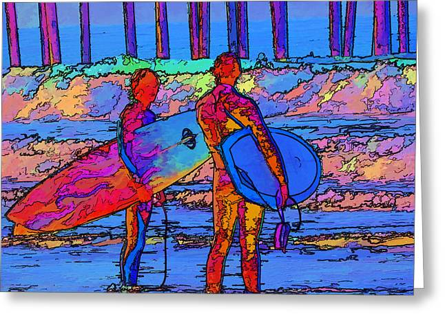 Surfers Greeting Card by Kathy Churchman