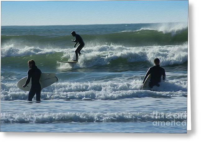 Surfers Greeting Card by Nur Roy