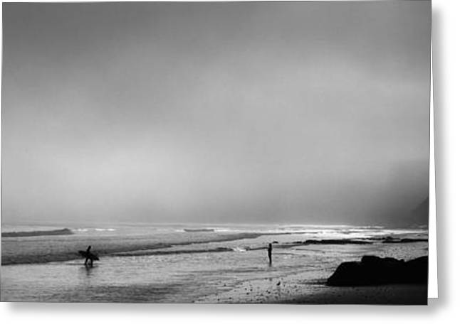 Surfers On The Beach, Point Reyes Greeting Card by Panoramic Images