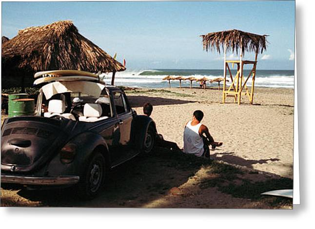 Surfers Watching Waves, Zicatela Beach Greeting Card by Panoramic Images