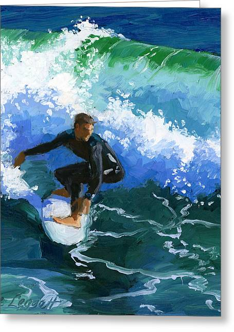 Surfin' Huntington Beach Pier Greeting Card by Alice Leggett