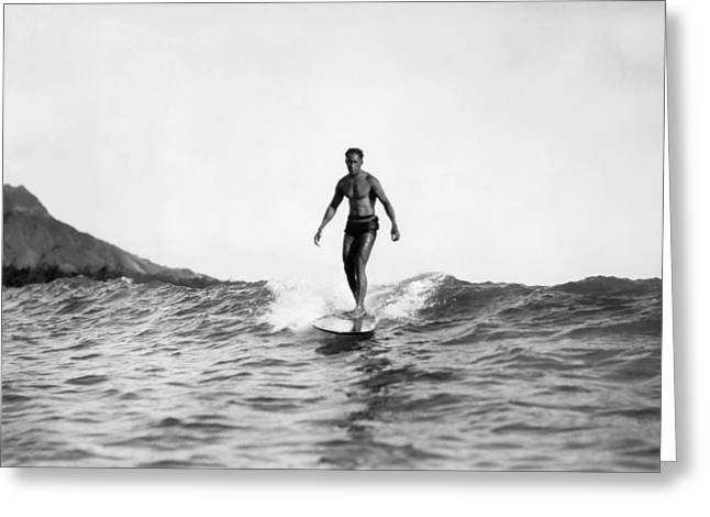 Surfing At Waikiki Beach Greeting Card by Underwood Archives