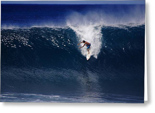 Surfing Backdoor Pipeline Greeting Card by Richard Cheski