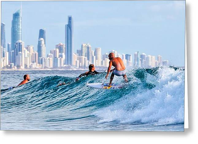 Surfing Burleigh Greeting Card