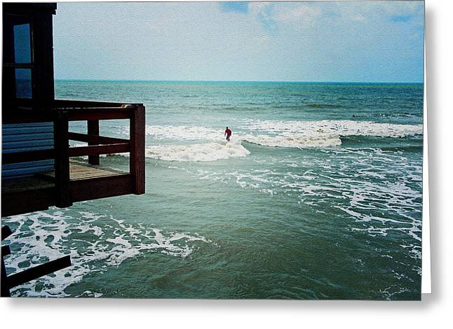 Surfing By The Pier Greeting Card by Laurie Perry