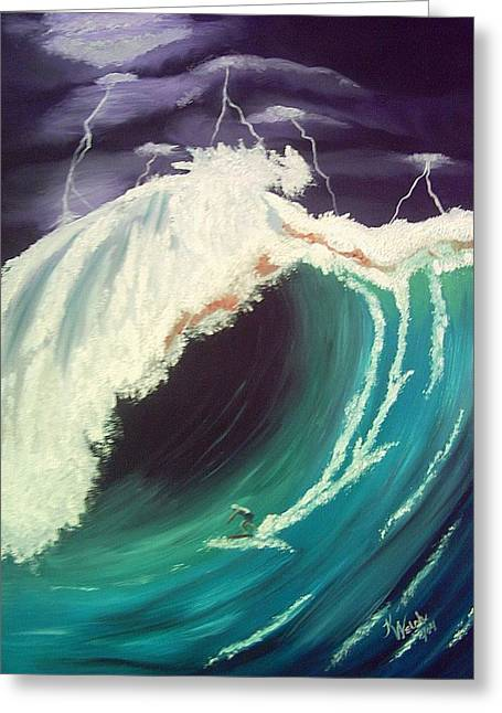 Surfing Dare Devil  Greeting Card by Kathern Welsh