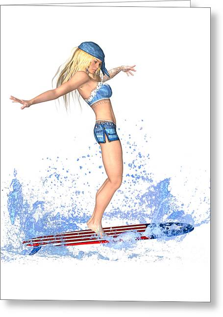 Surfing Girl Greeting Card