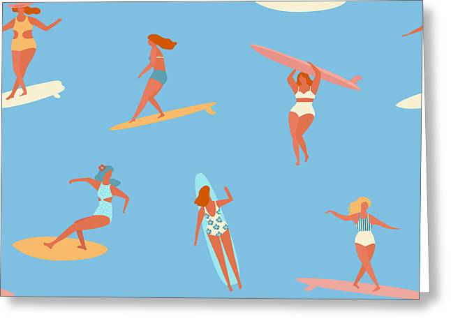 Surfing Girls Illustration In Vector Greeting Card