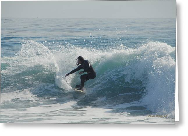 Surfing In The Sun Greeting Card by Donna Blackhall