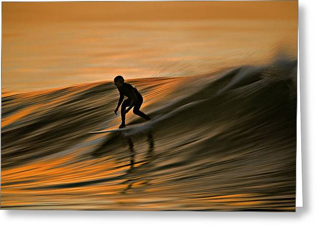 Surfing Liquid Copper C6j2144 Greeting Card