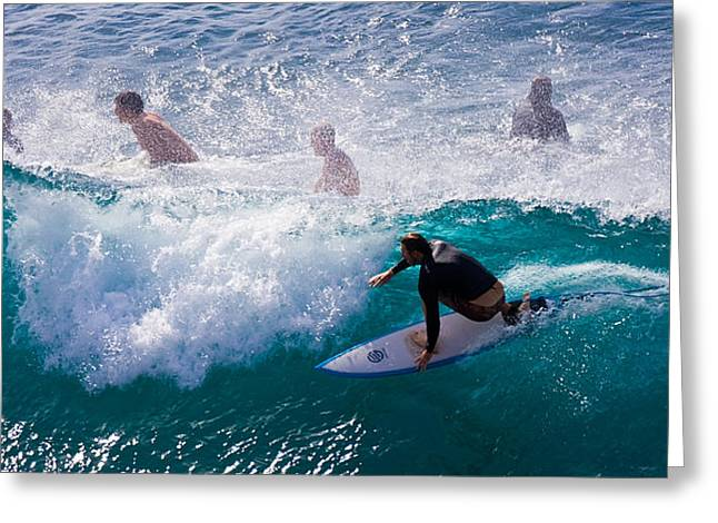 Surfing Maui Greeting Card by Adam Romanowicz