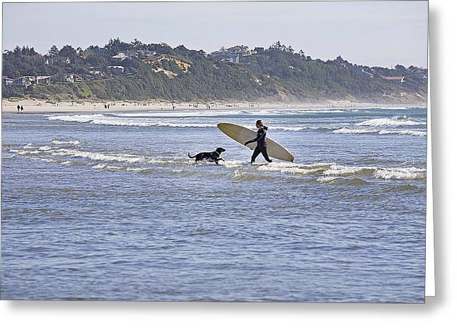 Surfing On Agate Beach Greeting Card