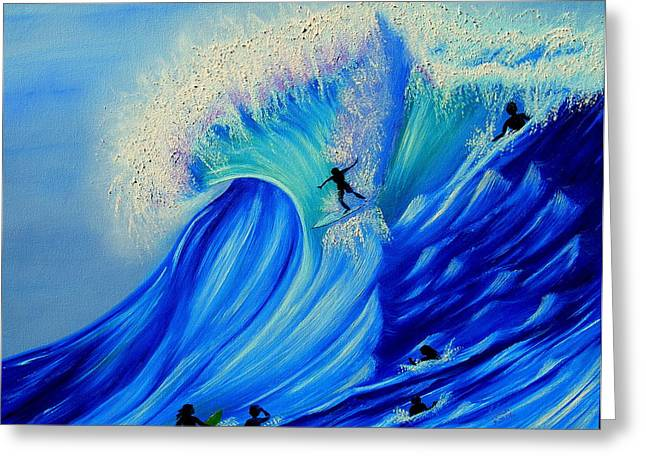 Surfing Party Greeting Card by Kathern Welsh