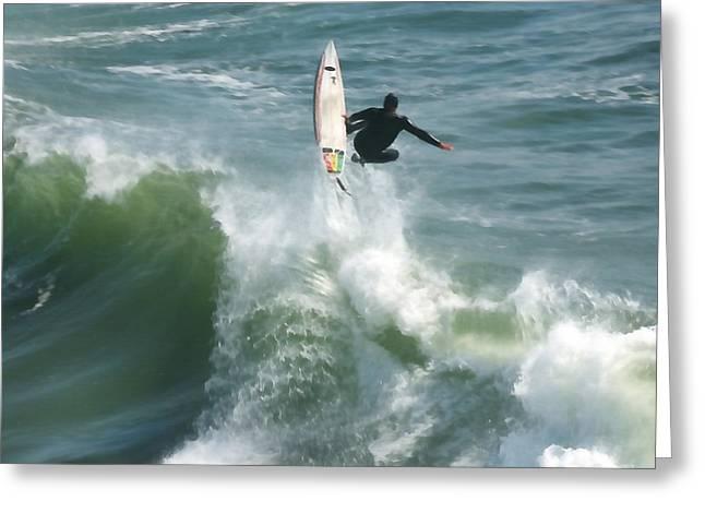 Surfing Santa Cruz Greeting Card by Art Block Collections