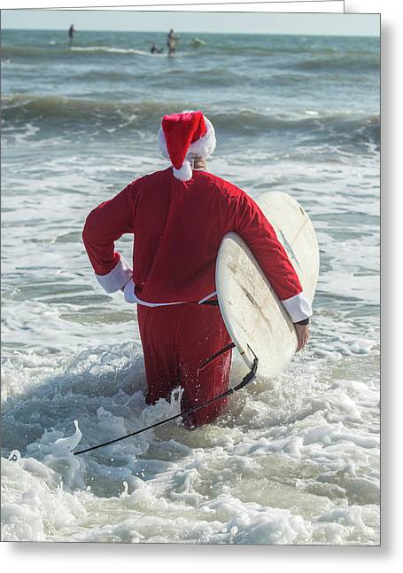 Surfing Santas, Surfboards, Cocoa Greeting Card