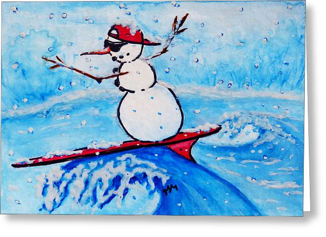 Surfing Snowman Greeting Card